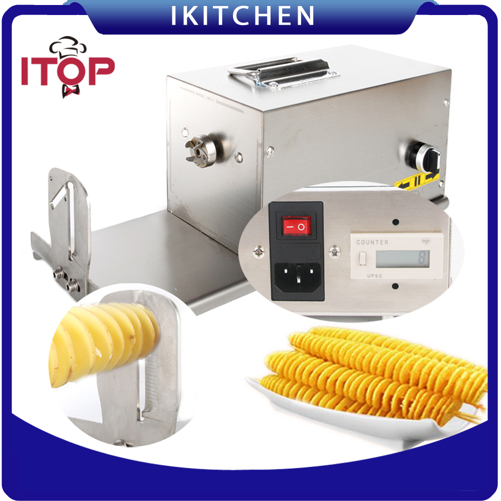 ITOP 110V 220V Electric Twisted Potato Slicer Hot Dog Potato Automatic Commercial Spiral Stainless Steel Vegetable Cutter HE03 руководство twisted картофеля фри из нержавеющей стали slicer овощей