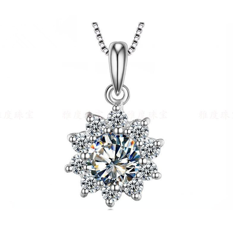 pendant gold j p v ct solitaire certified in white diamond