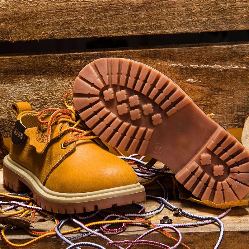 Дети Мода ретро Сапоги и ботинки для девочек Пояса из натуральной кожи Повседневное спортивные Обувь для мальчиков детская зимняя Обувь ко...