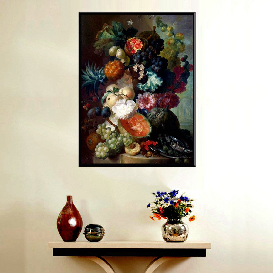 Still Life Fruits Oil Painting Grape Watermelon Pineapple Flowers Bedroom Decoration Wall Canvas Prints Large Artwork Dropship Wall Canvas Oil Painting Grapesfruit Oil Painting Aliexpress