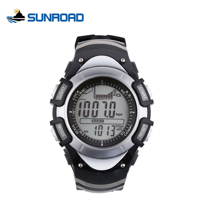 ФОТО SUNROAD Fishing Digital Watch Men Weather Forecast Barometer Altimeter Thermometer Fishing Reminder Waterproof Mens Watch FX704