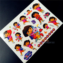 Cartoon Explorer Dora Children Waterproof Temporary Tattoo Stickers, Kids Toys Gifts Body Art Flash Tattoo BOdy Arm Summer Style