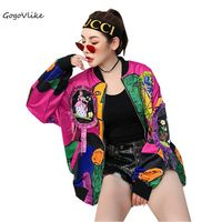 Women Tops bomber jacket Colorful Graffiti Print 2018 Spring Casual Coat For girl Bows Patchwork Long Sleeve LT237S40