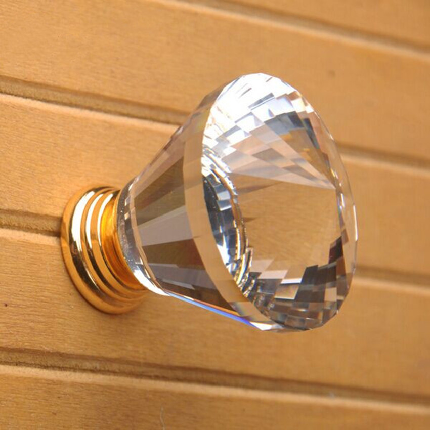 30mm k9 glass crystal drawer cabinet knob pull 24K gold dresser cupboard door handles fashion deluxe modern furniture hardware 96mm glass crystal kitchen cabinet drawer handle knob silver golden dresser cupboard door pull modern fashion furniture handles