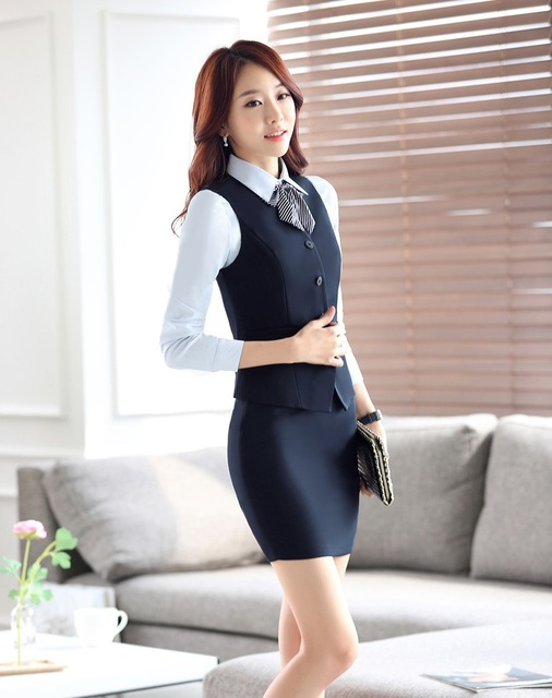 2015 Spring Autumn Elegant Uniform Styles Formal Work Suits Vest + Skirt Ladies Office Female Outfits Blazers Sets Plus Size 4XL