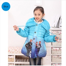 2017 Fashion Girls Winter Warm Princes Elsa Anna Snowsuit Kid Thin Outerwear Slim Lined Baby Coat Jacket Outfits Overcoat Padded
