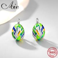 Like dream animated stripe pattern 925 Sterling Silver DIY fashion grass green Enamel   fine   Stud   Earrings   Party Jewelry