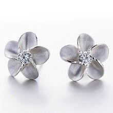 Boucles d'oreilles petites fleurs brillantes en argent sterling 100% pour femmes, bijoux en cristal, Anti-allergie, cadeau de noël, 925