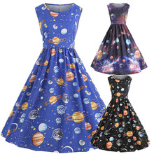 2019 Summer Cosmic Sky Planet Women Sexy Girl Pleated Vintage Printing Starry  Space Sweet Dress
