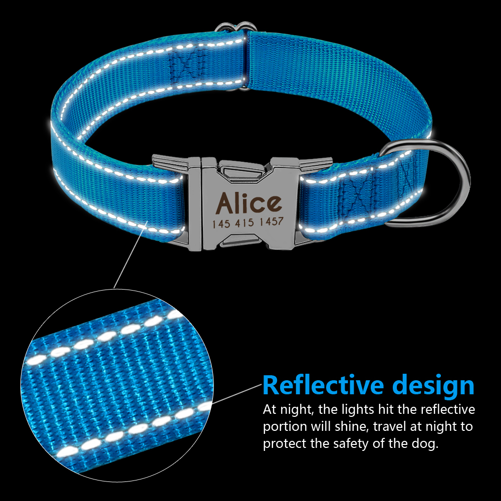 Personalized Dog Collar Durable Nylon Reflective Collar Custom Pet Dogs Collars For Small Medium Large Dogs 2
