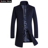 Брат Ван бренд 2018 Новый Для мужчин Тонкий длинная куртка с секциями шерстяные Тренч модные Повседневное Бизнес одноцветное Цвет ветровка к