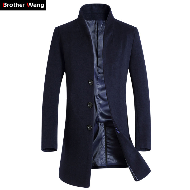 Brother Wang Brand 2019 New Men Slim Long Section Woolen Trench Coat Fashion Casual Business Solid Color Windbreaker Jacket Male