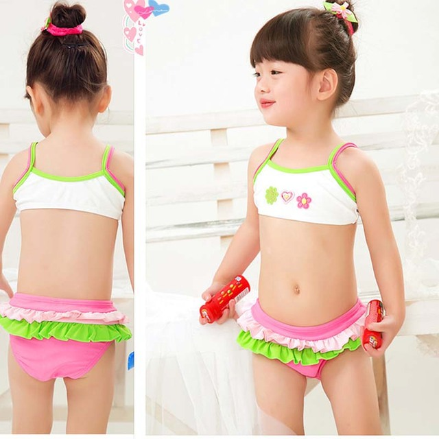 638a555bfe00b retail cute children s swimsuit girls flower bikini set baby girl swimwear little  girls swimsuits for children beach clothes