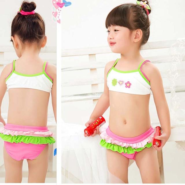 9ddf664634b40 retail cute children's swimsuit girls flower bikini set baby girl swimwear  little girls swimsuits for children ...