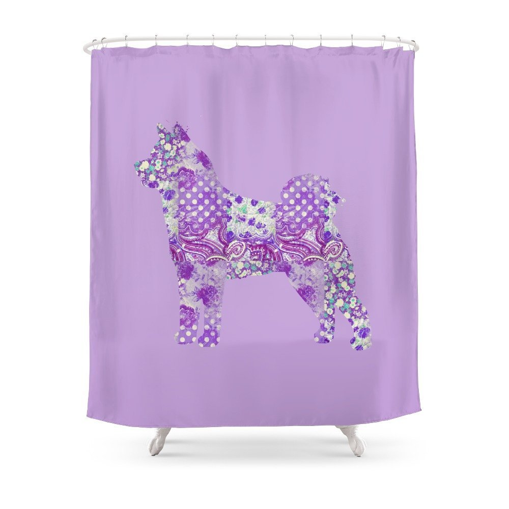 Akita Dog Purple Lilac Lavender Turquoise Pastel Pretty Floral ...