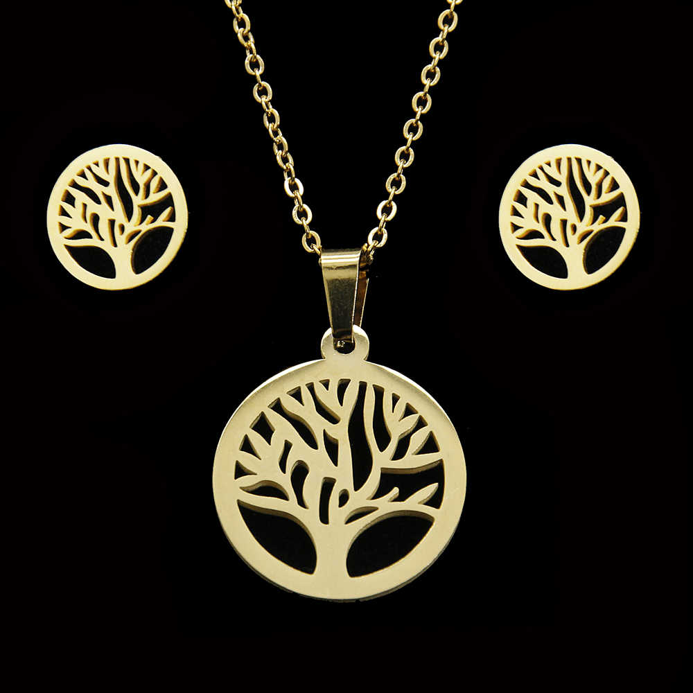 Legenstar Trendy Tree Of Life Necklace Earring Sets Jewelry for Women Stainless Steel Choker Necklace Christmas Gift