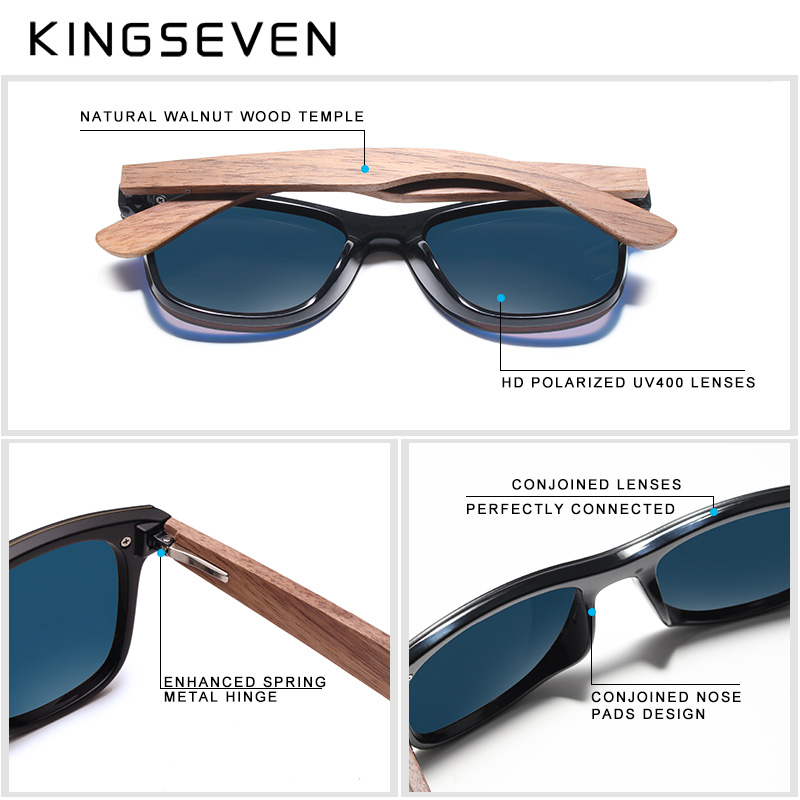 Image 5 - KINGSEVEN 2019 Mens Sunglasses Polarized Walnut Wood Mirror Lens Sun Glasses Women Brand Design Colorful Shades Handmade-in Men's Sunglasses from Apparel Accessories on AliExpress