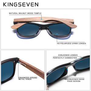 Image 5 - KINGSEVEN 2020 Mens Sunglasses Polarized Walnut Wood Mirror Lens Sun Glasses Women Brand Design Colorful Shades Handmade