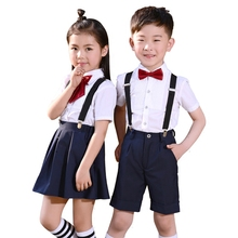 New Boys Girls Summer Wedding Skirt Shirts Set with Bowtie  Formal Birthday Dress School Uniform Children Suit