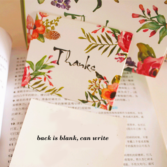 50pcs Mini thanks Card flower style leave message cards Lucky Love