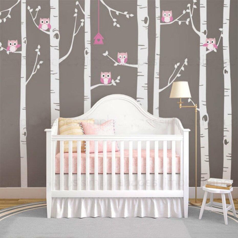 Große Birke Vinyl Wandtattoos Niedliche Eulen Natur Wand aufkleber Kindergarten Wald Wald Kunst Aufkleber für Kinderzimmer Home Decor