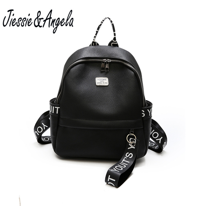 Jiessie&Angela Women PU Leather Bag School Bags for Teenagers Women Travel Backpack Mochila Feminina Casual Girls Bakcpacks ...