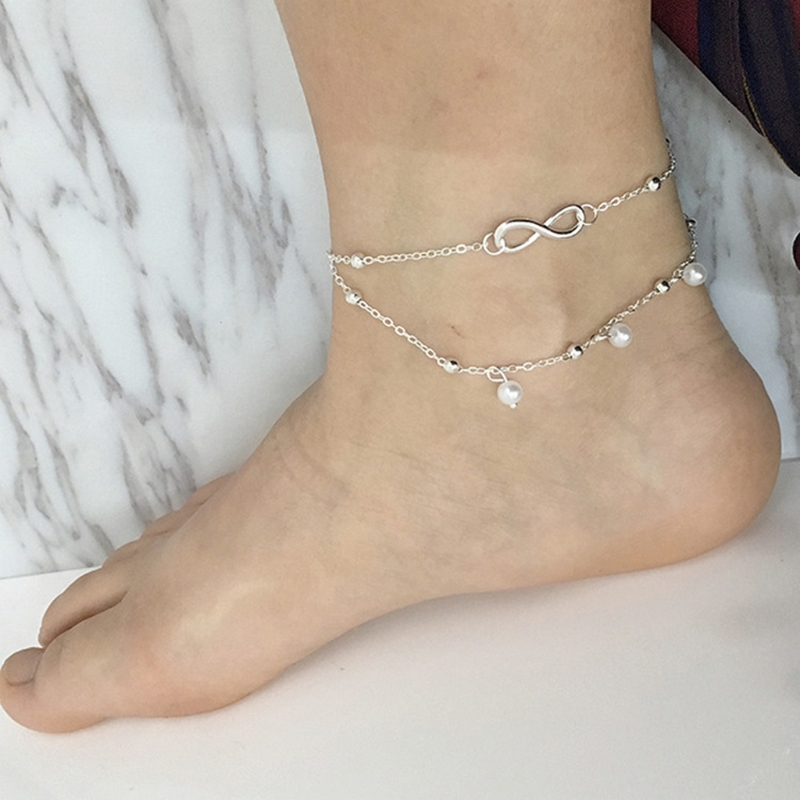 Women Infinity Love Double Chain Anklet Bracelet Beach Pearl Barefoot Jewelry in Anklets from Jewelry Accessories