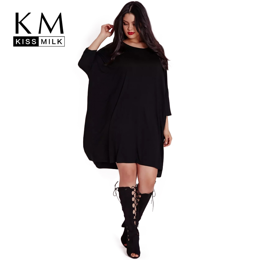 Kissmilk 2017 Big Size New Fashion Women Clothing Casual Brief Solid O Neck Loose Summer Dress
