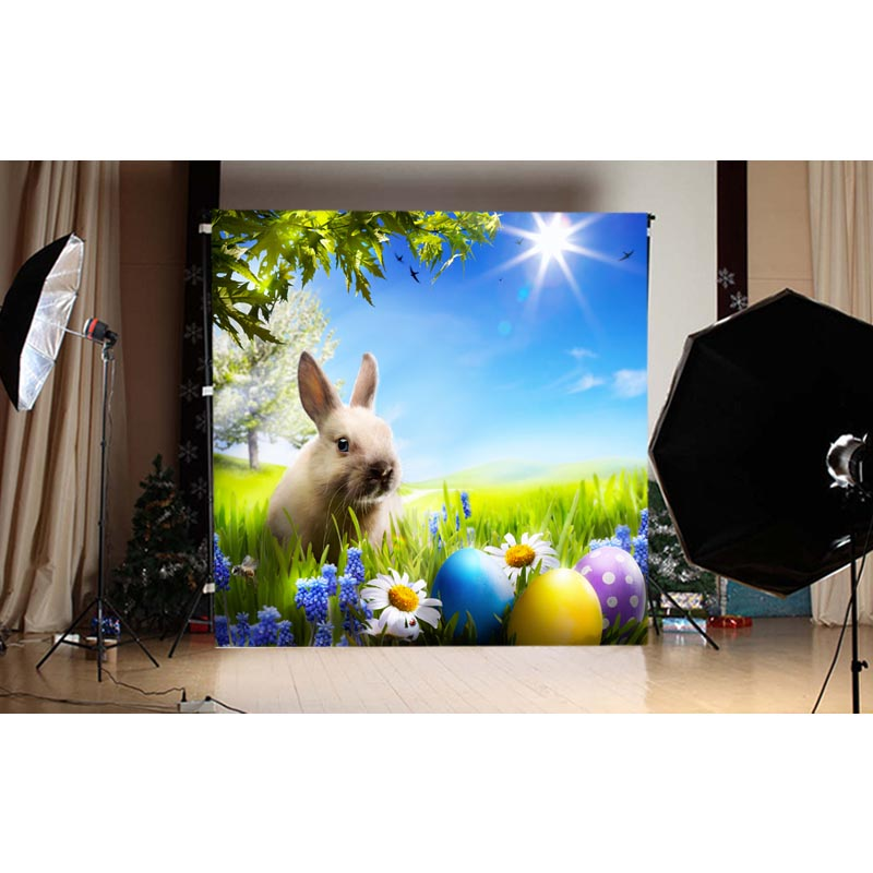 1.5MX1.5M colored easter eggs and rabbit printed vinyl photography backdrops for spring photo of newborn GE-113