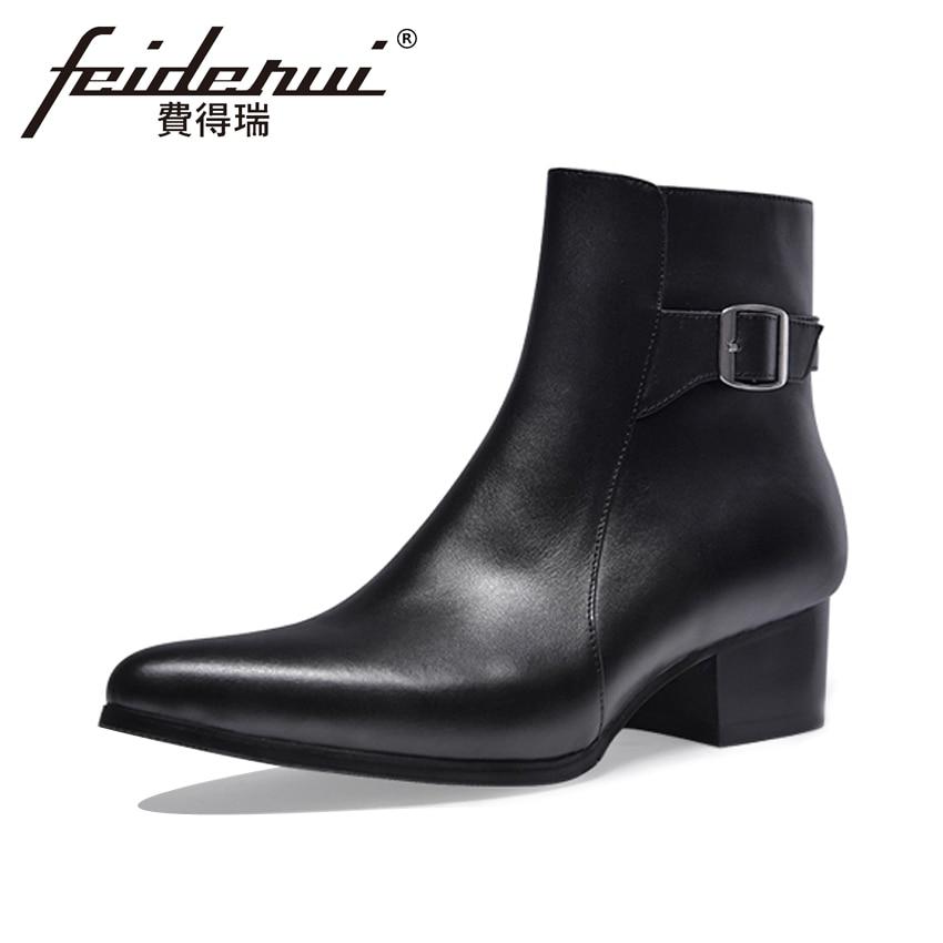 купить Italian Style Genuine Leather Men's Ankle Boots Pointed Toe High Heel Footwear High-Top Handmade Man Cowboy Martin Shoes HQS286 недорого