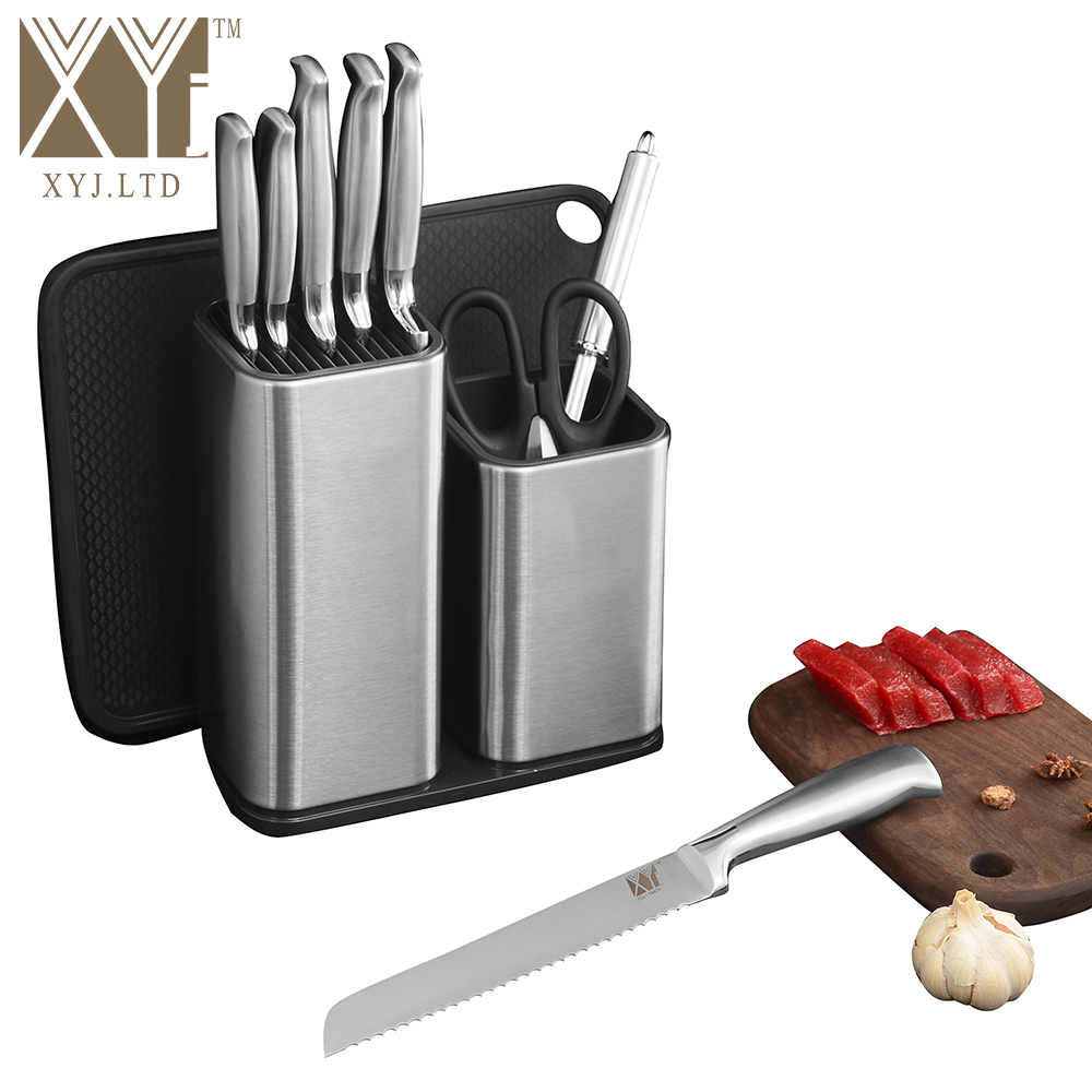 XYj 6'' 8'' Stainless Steel Knife Stand Cutting Board Kitchen Knife Holder Hotel Restaurant Cooking Accessory Fashion Gift