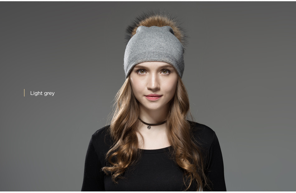 Mosnow Hat Female Women Raccoon Wool Fox Fur Pom Poms Warm Knitted Casual High Quality Vogue Winter Hats Caps Skullies Beanies1 (15)