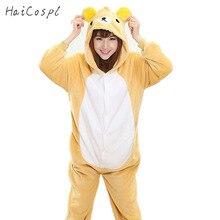 Rilakkuma Pajama Onesie Women Adult Lovely Bear Cosplay Costume Girls Winter Warm Soft Flannel Long Sleeve With Hat Sleepwear