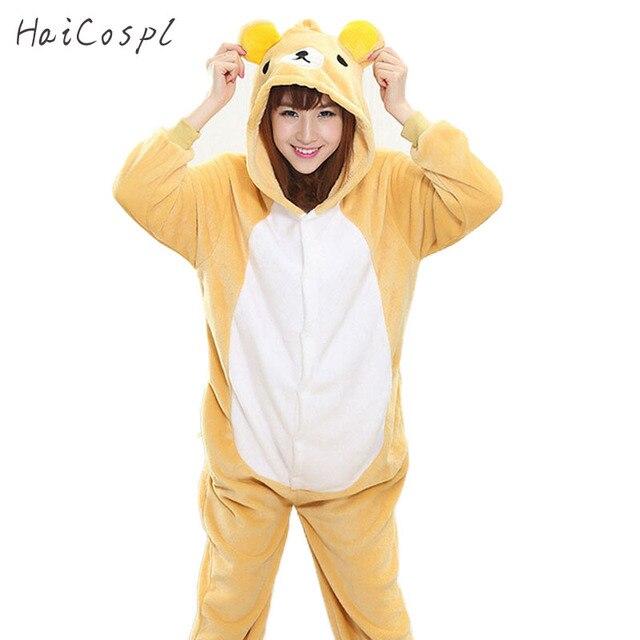 e9ae857ef2 Rilakkuma de pijama Onesie adultos mujeres oso Cosplay traje de las niñas  invierno cálido suave franela