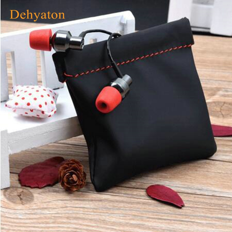 Dehyaton Mini Portable PU Leather Earphone Bag Headphone Accessories Storage Mini Earbuds Protective Package Case For Cable