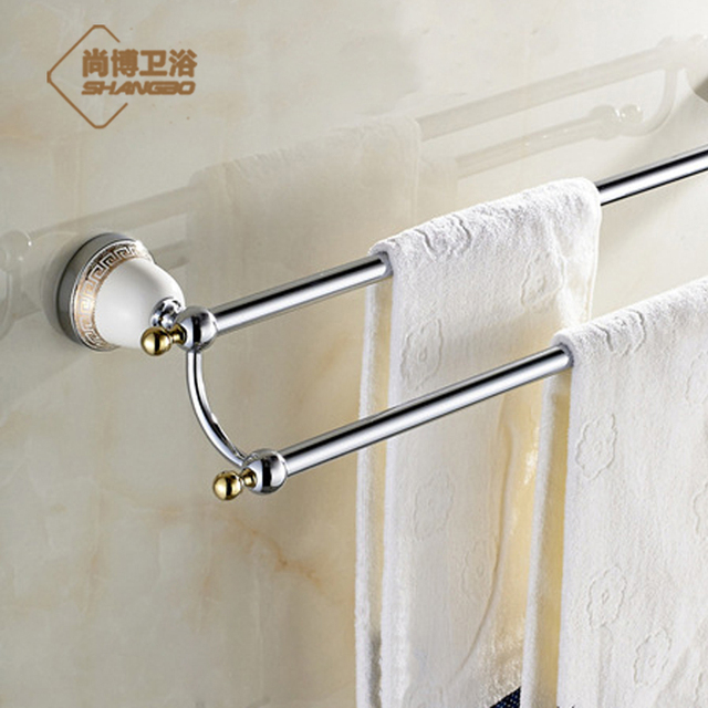 Chrome European Porcelain Sanitary Towel Rack Gold Plated Double