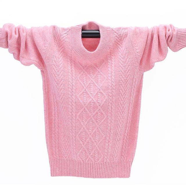 Inverno de Alta Qualidade Camisola de Caxemira para Meninas Crianças Pullover Camisola Morna Crianças Meninos Cardigan Suéter de Lã Jumper 3-12 anos