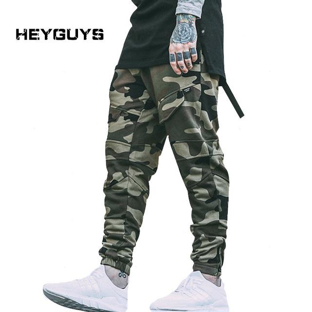 Heyguys 2016 camo new quick dry homens calça de corpo inteiro dos homens calças high street wear legal homem moda hip hop eua estilo