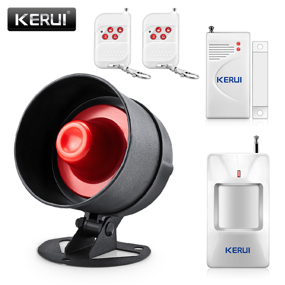 KERUI DIY 100dB Wireless Local Alarm Security Systems Home Siren Speaker Burglar Infrared Alarm Detector Door sensor Alarm Kit