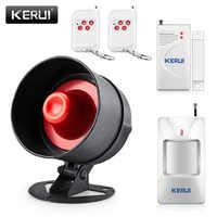 Kerui diy 100db sem fio locais sistemas de segurança alarme sirene em casa alto-falante detector de alarme infravermelho porta sensor alarme kit
