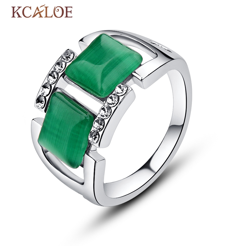 Kcaloe Зеленый Опал обручальное кольцо Hollow Геометрия площадь Австрия Кристалл Rhinestone Натуральный камень Анель Обручение кольцо для Для женщин