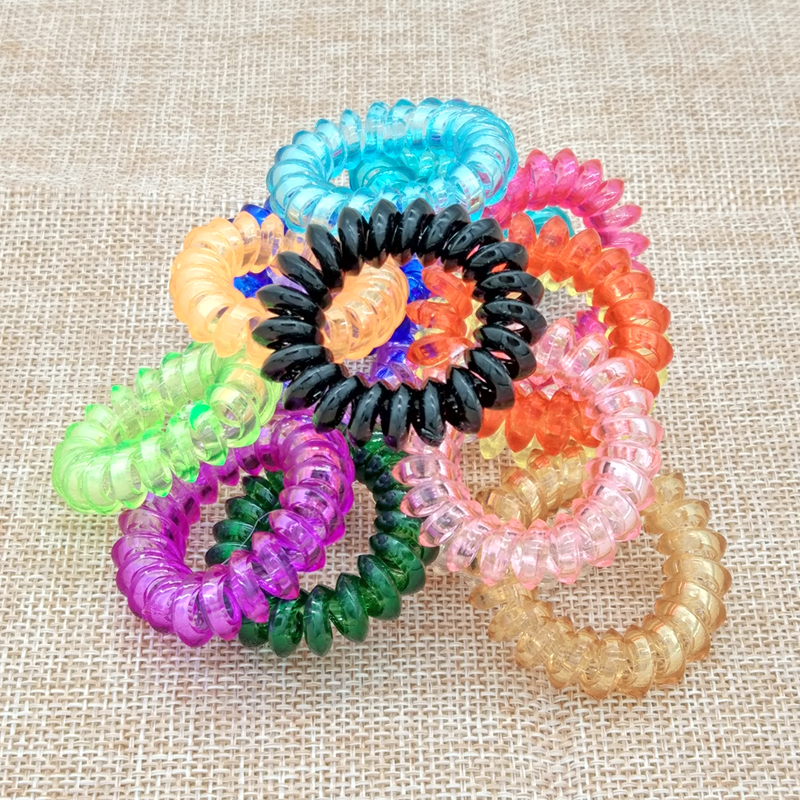 Aliexpress 15 Pcs Lot Plastic Hair Candy Color Rope Spiral Shape Ties Styling Tools Telephone Wire Accessories From Reliable