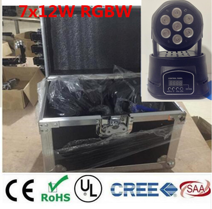 2PCS led wash mini moving head light 7x12w with flightcase+1M dmx cable rgbw 4in1 leds mass effect DMX 9/14 channels dj lights 4pcs lot with flight casflightcase led wash mini moving head light 7x12w rgbw 4in1 led dmx controller dj disco light