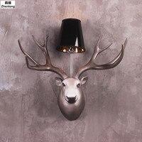 Голова оленя бра творческий Nordic Гостиная Спальня Прихожей Американский современный минималистский лампы Рога свет Ретро Декор огни