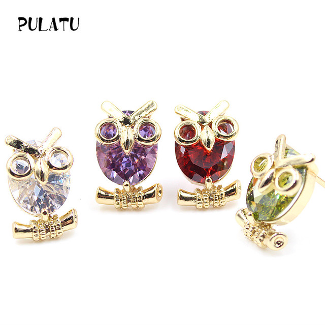 4 Color Cute Owl Earring Aaa Cubic Zirconia Gold Ear Studs Small Stud