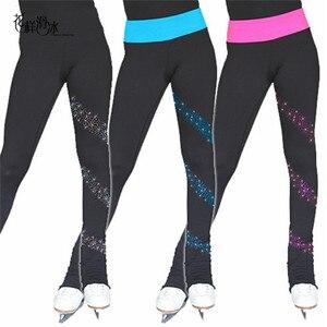 Image 1 - Łyżwiarstwo długie spodnie łyżwiarstwo figurowe spodnie dostosowane ciepłe polary dorosłe dziecko konkurs wydajność błyszczące Rhinestone