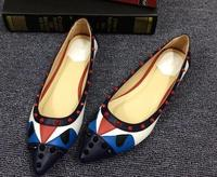 Women Shoes 2017 Brand Flat Shoes Spring Luxury Peekaboo Monster Women Shoes Women Leather Flats With