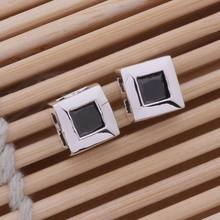 AE278 Hot 925 sterling silver earrings , 925 silver fashion jewelry , brightness square inlaid black stone /cezakwga apbajgia(China)