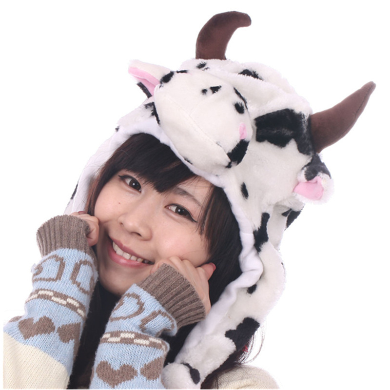 DOUBCHOW Cute Plush Earflap White Cow Animal Hats for Adults Womens Mens Teenagers Kids Boys Girls Winter Warm Beanie Cap