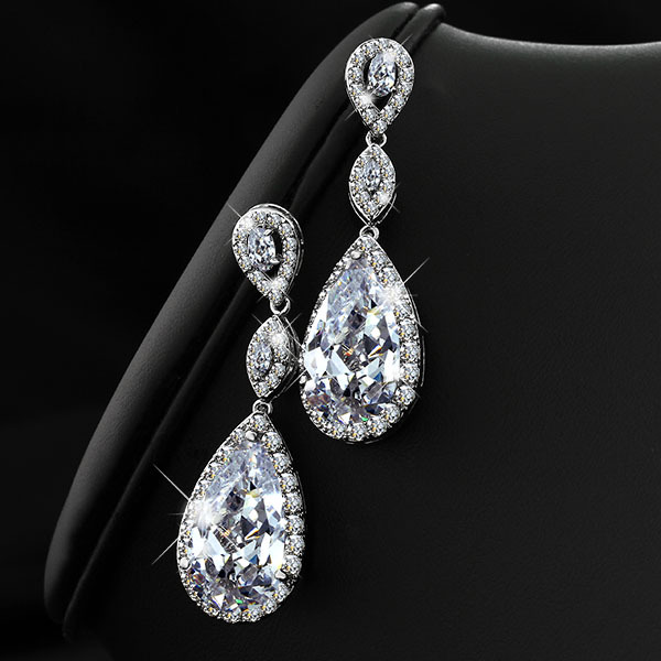 Clic Drop Earring Women Cubic Zirconia Diamond Earrings Fashion Silver Plated Lady Wedding Silveren Se1322 In From Jewelry